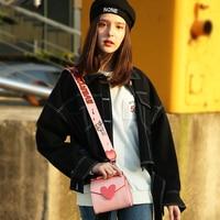 Original Design Pink Heart Shoulder Bags Wide Shoulder Strap Small Flap Bags 2018 Summer Cute Sweet Lady Crossbody Bags