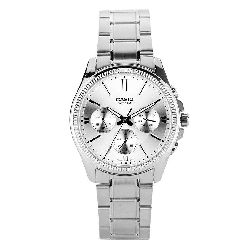 Casio relógio de ponteiro série de negócios de entretenimento três tempo quartz masculino relógios MTP-1375D-7A