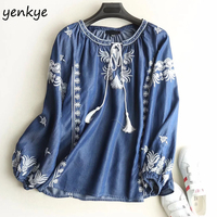 Spring 2018 Women Floral Embroidery Tencel Denim Blouse Lace Up O Neck Long Sleve Casual Blue