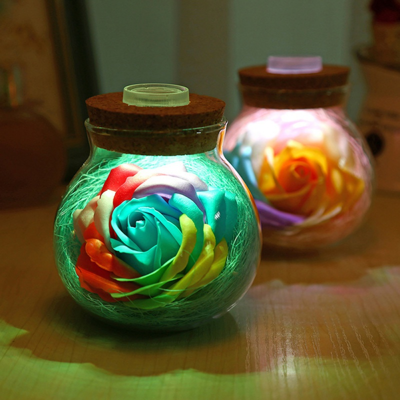 2019 LED Romantic Bulb RGB Dimmer Lamp Rose Flower Bottle Light With Remote Control Night Light For Mom Lady Girl Birthday Gift