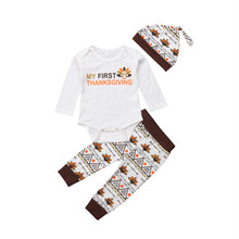 3760af130c9 3Pcs Infant Baby Boys Girls Long Sleeve Romper Turkey Print Pants Hat Thanksgiving  Clothes Set Outfit