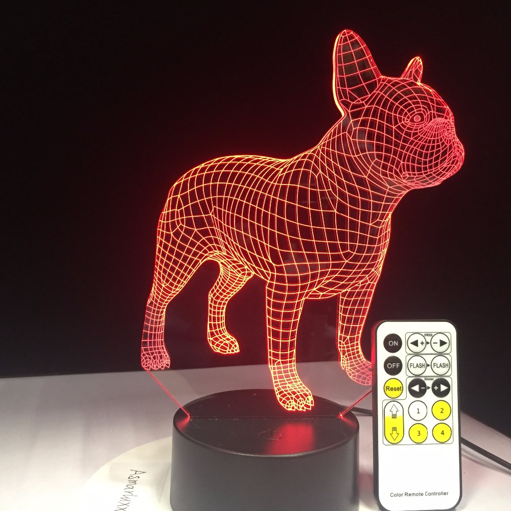 French Bulldog 3D Table Lamp BLE Remote Touch Contol LED Colorful Dog Nightlight Birthday Gift USB Sleep Lighting Drop Shipping