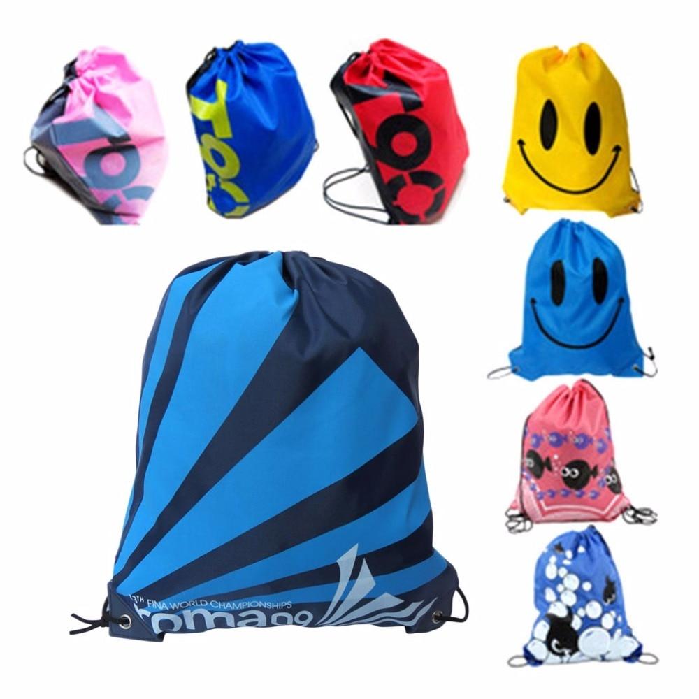 Drop shipping Double Layer font b Drawstring b font Gym Waterproof Backpacks Swimming Sports Beach font