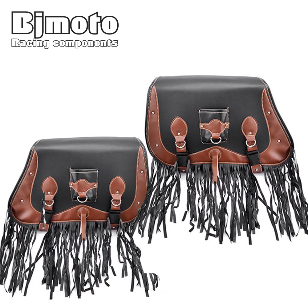 BJMOTO 2X Motorcycle PU Leather Saddle Bag Tassels Scoote Rider Motorbike Luggage Storage Saddlebags For Harley Honda Yamaha for harley yamaha kawasaki honda 1 pair universal motorcycle saddle bags pu leather bag side outdoor tool bags storage undefined