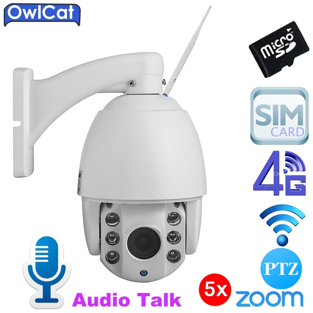 OwlCat SONY Outdoor PTZ Dome HD 1080P 960P GSM 3G 4G SIM Card IP Camera 5X Optical Zoom SD Card Night Vision IR CCTV P2P Camara hikvision ds 2de7230iw ae english version 2mp 1080p ip camera ptz camera 4 3mm 129mm 30x zoom support ezviz ip66 outdoor poe