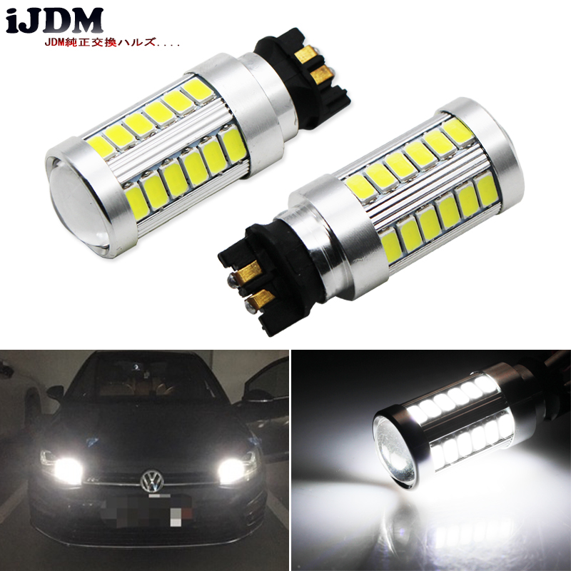 iJDM Canbus Error Free PW24W PWY24W LED Bulbs For Audi BMW Volkswagen Turn Signal Lights or Daytime Running Lights,Xenon 6000k ijdm amber yellow error free bau15s 7507 py21w 1156py xbd led bulbs for front turn signal lights bau15s led 12v