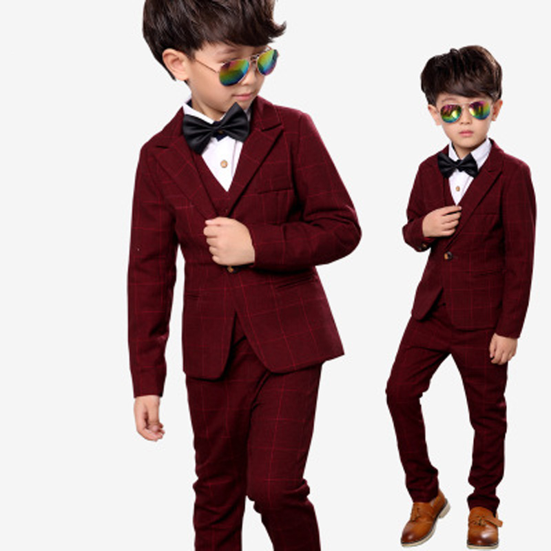 Children suit 2018 fashion children's clothing plaid autumn and winter boys suit performance clothing three / piece suit children s suit 2018 fashion england wind children s clothing autumn and winter boy plaid suit performance clothing