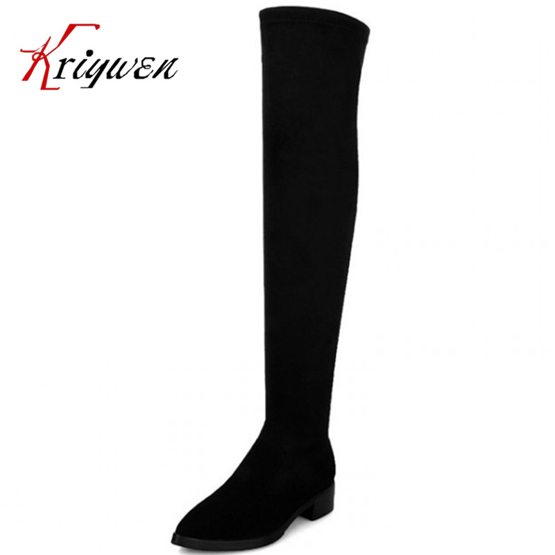 ФОТО Two kinds of style size 33-41 knight long boots 2015 new arrive thigh thick high heels pointed toe casual motorcycle botas