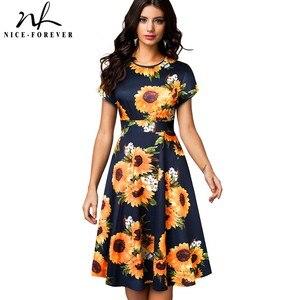 Image 5 - Nice forever vestido de verano de mujer, Retro, flor solar estampada, fiesta de negocios, acampanado