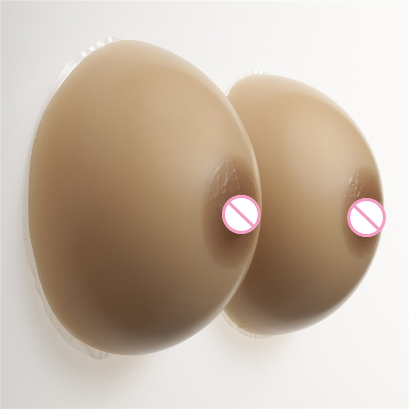 Buy 1200g/pair Brown Silicone Breast Forms 36DD/38D/40C Cup Crossdresser Shemale Boobs Artificial Breast Enhancer Classic Round