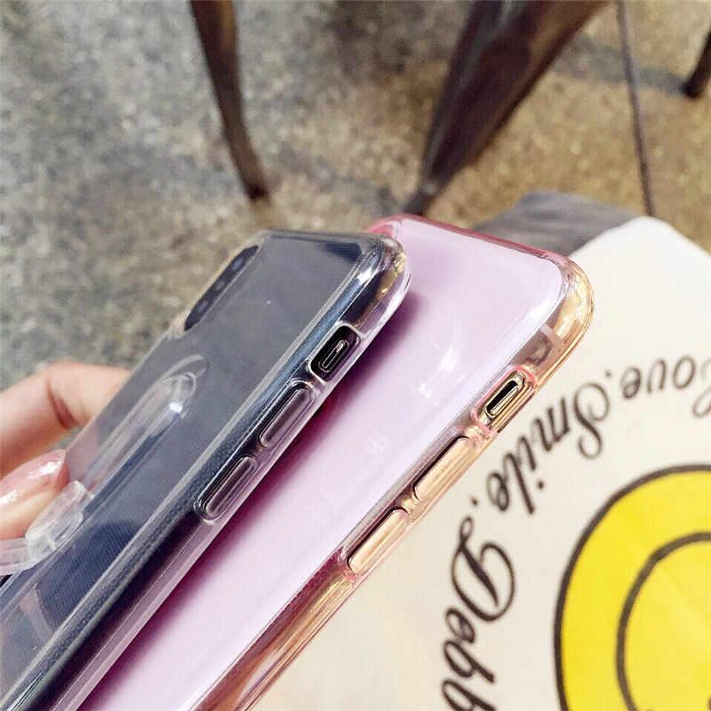 スタンドとケース sFor iphone XR X Xs 最大シリコーン TPU 耐衝撃ケースカバー iphone 6 S 7 8 プラス 5 透明 Fundas キャパ