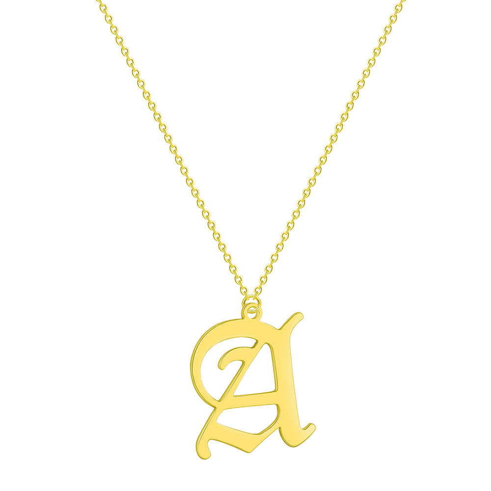QIMING A Initial Necklace For Women Men Jewelry Stainless Steel Gold 26 Letter Alphabet Pendant Necklace Girls Baby Gift