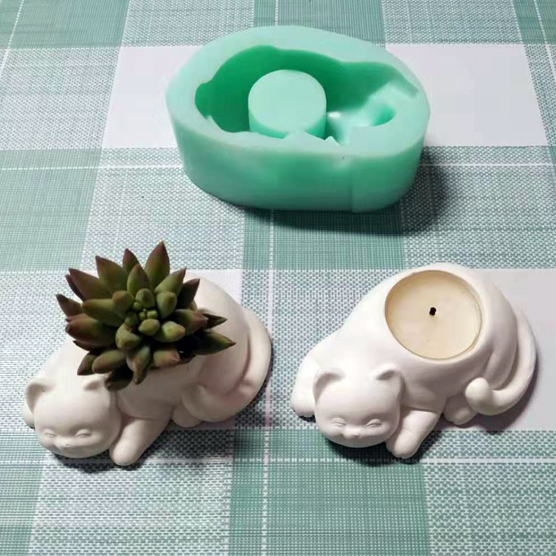 Concrete Molds For Canldestick ,silicone Candle Holder Molds, Plaster Cat Flower Pot Molds