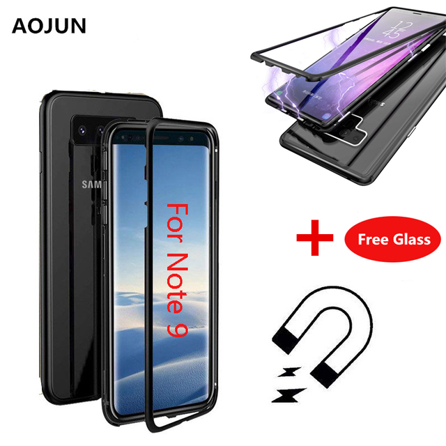 pretty nice 49d46 d4d22 Magnetic Adsorption Case For Samsung Galaxy Note 9 S9 Transparent Tempered  Glass Cover For Samsung S8 S9 Plus Note 8+ Free Glass