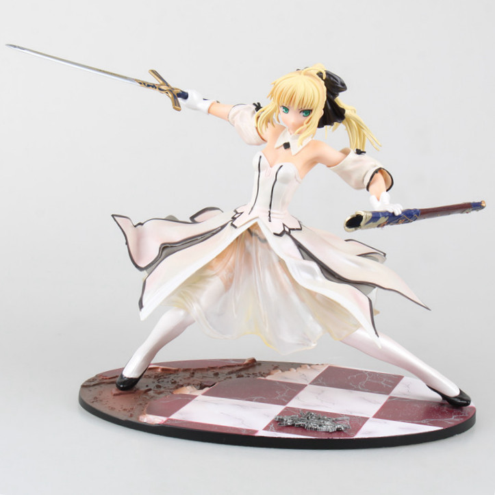 Free Shipping 8 Fate Stay Night Anime White Saber Lily Caliburn Ver. Boxed 21cm PVC Action Figure Collection Model Doll Toy classic anime fate stay night fate extra ver red saber pvc action figure collection model toy 26cm high quality men toys