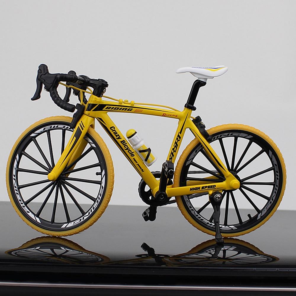 Миниатюрный велосипед коллекция игрушечный мотоцикл моделирование велосипед сплав многоцветный Декор безопасный материал Альпинизм Новинка Велосипед коллекция - Цвет: Bend the car yellow