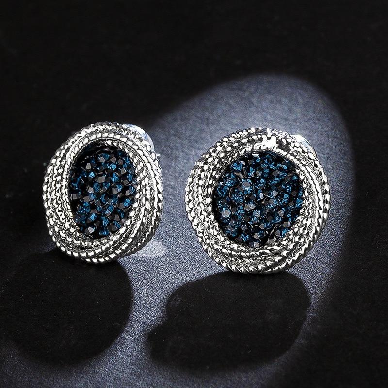 Stud Earrings High Quality 925 Sterling Silver Needle Earring Luxury Full Rhinestone Crystal Stud Earrings For Women Fashion Jewelry Dje030 To Suit The PeopleS Convenience Earrings