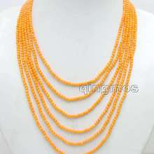 Flower-Clasp-Nec6091 Necklace Orange Small Natural 6-Strands Wholesale/retail Coral Round