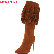 MORAZORA 2020 new arrival mid calf boots women pointed toe autumn winter boots sexy stiletto heels shoes fashion fringe boots
