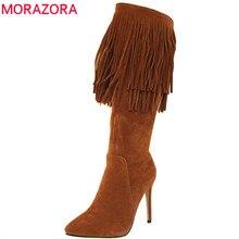 MORAZORA 2020 nouveauté mi mollet bottes femmes bout pointu automne hiver bottes sexy talons aiguilles chaussures mode frange bottes