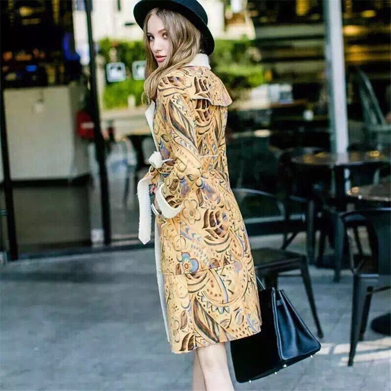 winter coat 2016 Winter Runway Designer Coat Women's Long Sleeve Turn Down Collar Vintage Floral Printed Suede Coat Outerwear