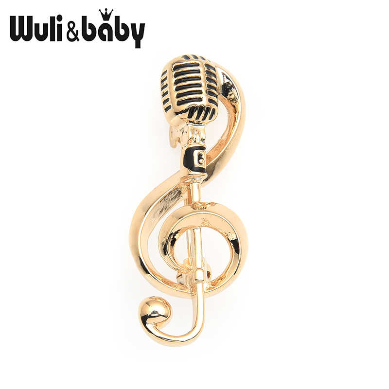 Wuli&baby Alloy Gold Color Microphone Music Note Brooches For Women And Men New Year's Gifts