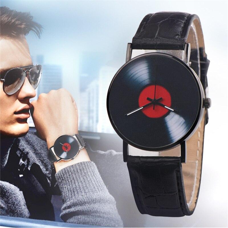 Unisex Watch Retro Design Leather Band Saat Quartz Wrist Watch Fashion Casual Analog Alloy Creative Vinyl Records CD Gifts Clock