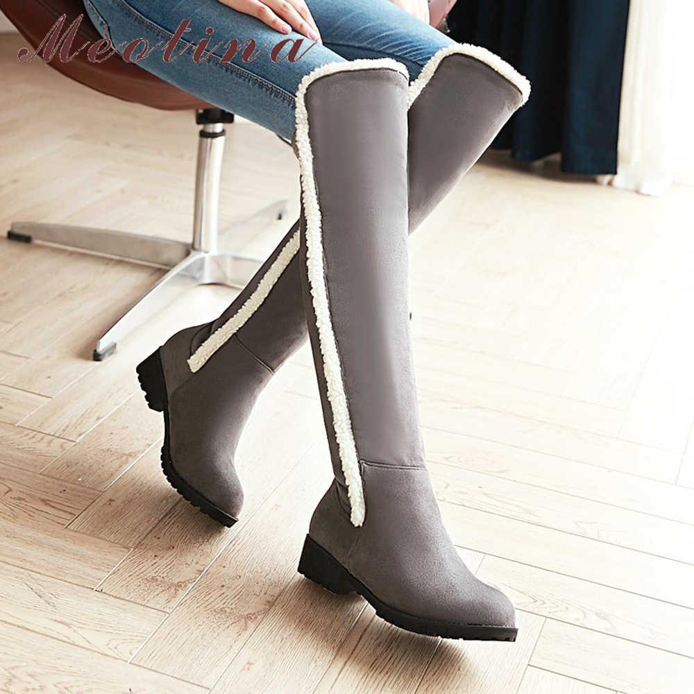 Meotina Diz Çizmeler üzerinde Kadın Kış Uyluk Yüksek Çizmeler Sınırlı Platformu Çizmeler Peluş Sıcak Uzun Ayakkabı Gri Siyah Boyutu 34-44