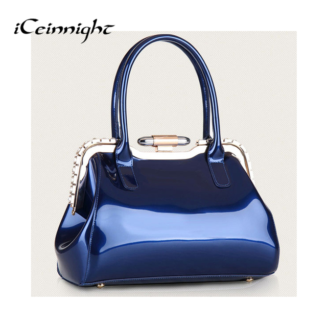 Iceinnight Women S Bags Las Handbags Elegant Bag Candy Color Blue Patent Leather Handbag Diamond Solid Party