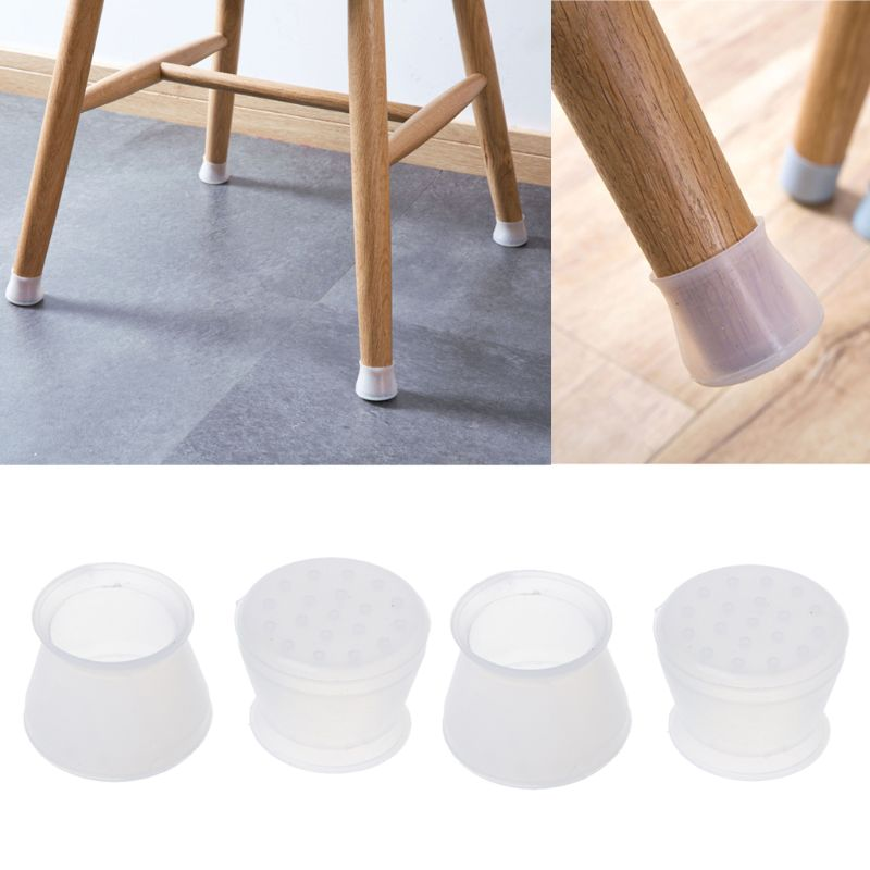 4x Transparent Rubber Chair Leg Caps Feet Pads Furniture Covers Floor Protector