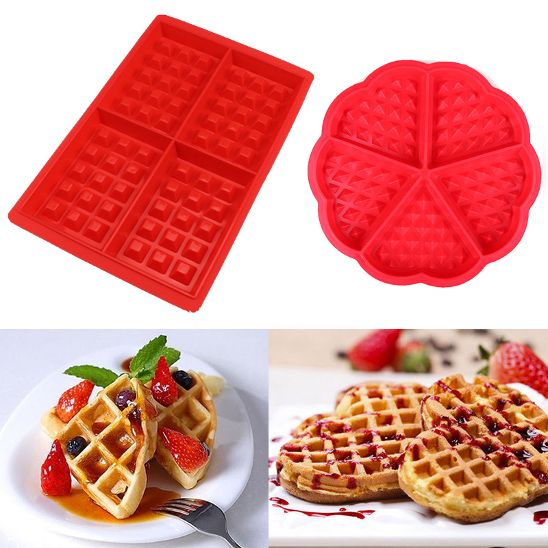 Non-stick Silicone Waffle Mold Kitchen Bakeware Cake Mould Makers for Oven High-temperature Baking Set image