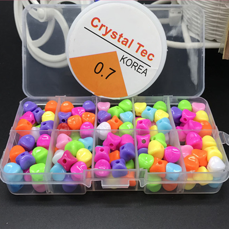 200Pcs/box Mixed Acrylic Beads Set Accessories For DIY Necklace Bracelet Girl Developmental Toys Kids Beads Kits Best Gift