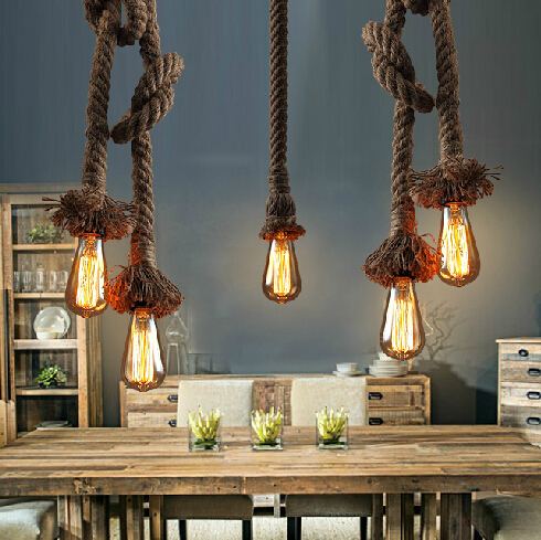 American Country Vintage Hemp Rope Droplight Retro Industrial Pendant Lights Fixture European Dining Room Cafes Pub