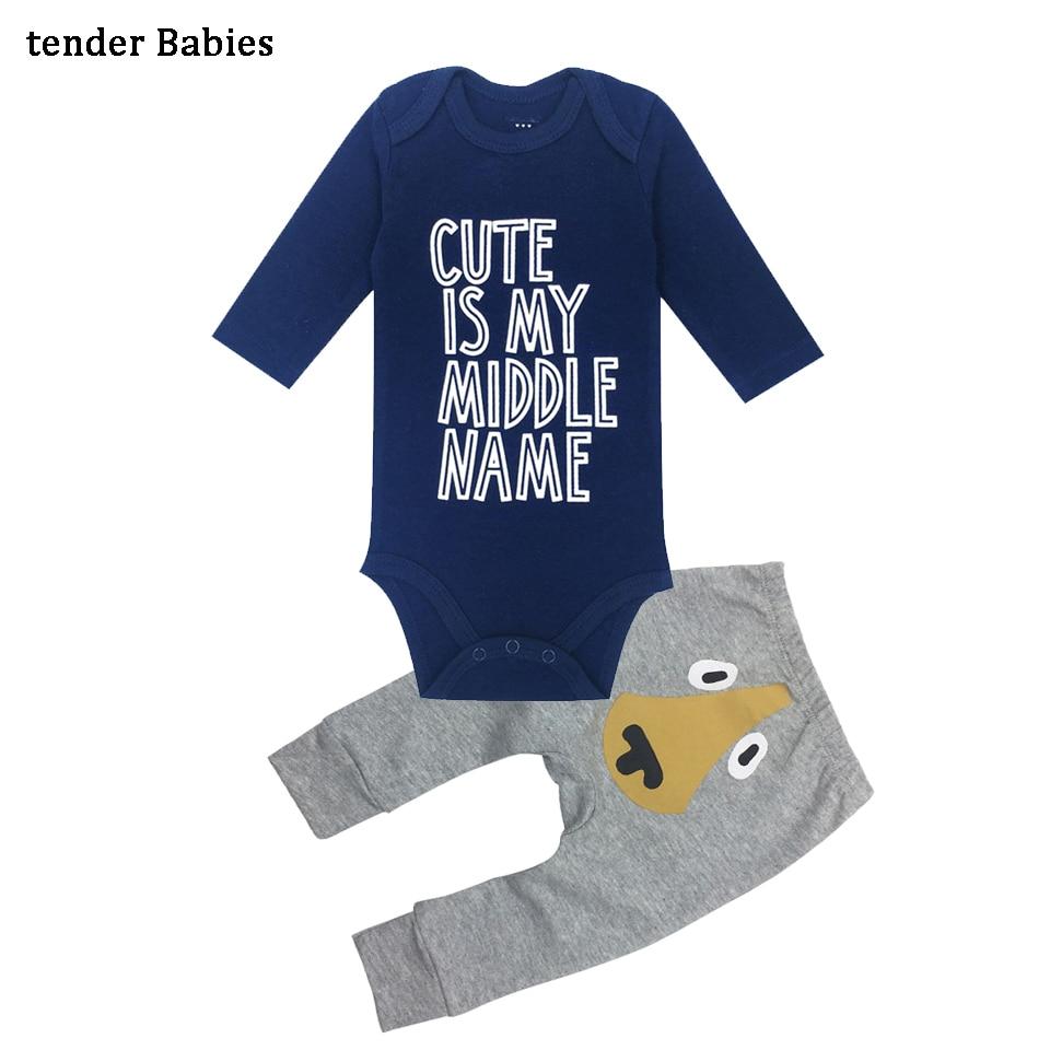 2018 Baby newborn Clothing Set cartoon Long sleeve Baby Boy Clothes+Pants 2pcs suit baby Girl clothes Cotton Pants Suit Autumn