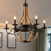 American country pendant lights rope industrial style vintage pendant lamp cord retro pendant lighting iron for bar restaurant