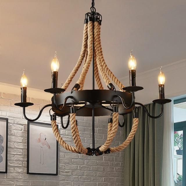 Hanglamp Met Touw.Amerikaanse Land Hanglampen Touw Industriele Stijl Vintage Hanglamp