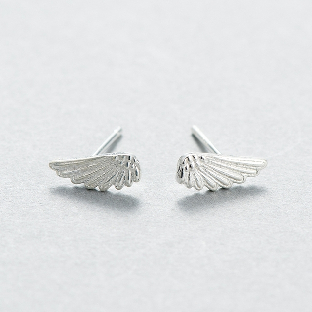 New 925 Sterling Silver Angel Wings Earrings Stud Fresh And Original Brushed Temperament