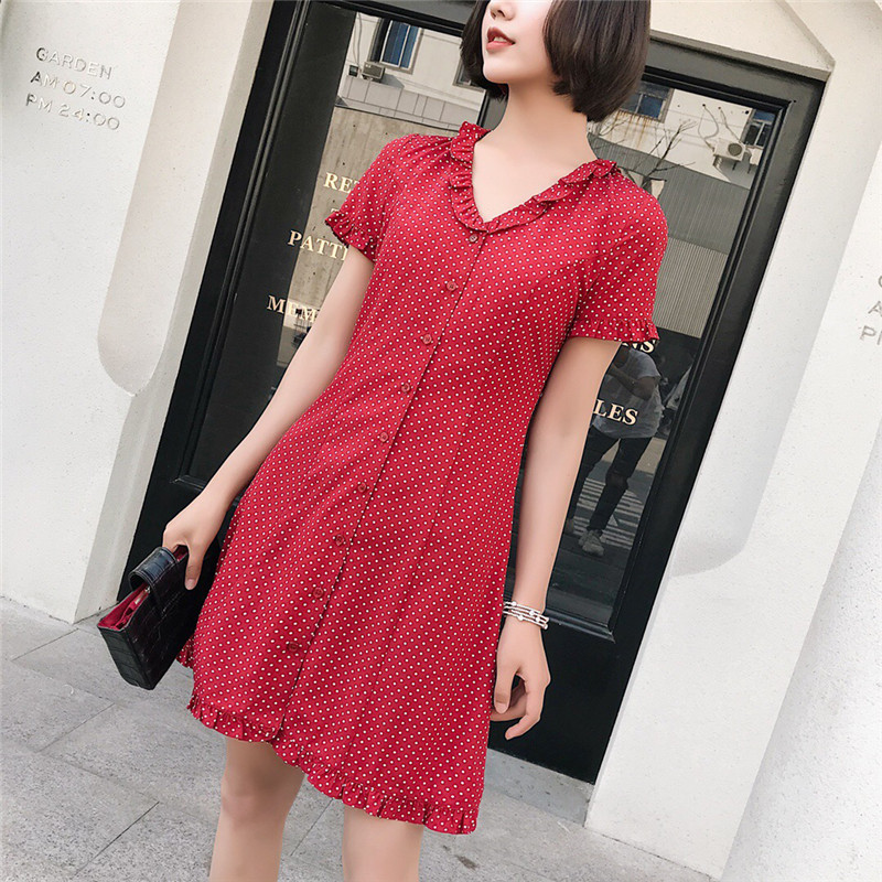 Red Polkadot Print Summer Dress Vintage A Line V Neck Wrap Short Sleeves Beach Mini Dresses