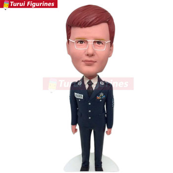 Soldier Personalized Boyfriend Gift Bobble Head Clay Figurine Based on Customers' Photos Using As Birthday Cake Topper, Gift, De