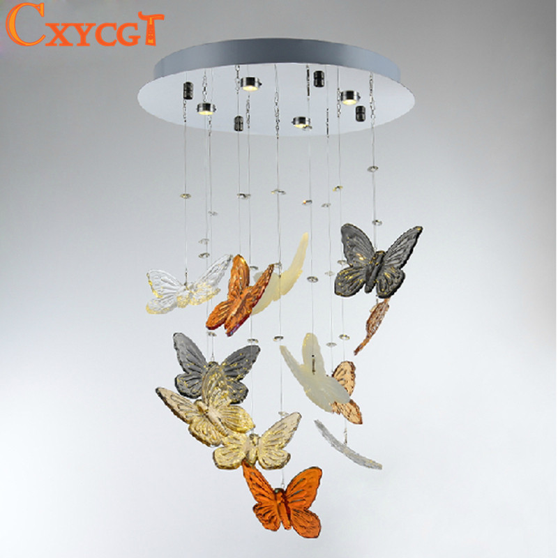 Creative Butterfly Modern Lustre Crystal Chandeliers Lighting Fixtures For Dining Room Art Deco Luxury Lamp t best price modern lustre rectangular crystal chandeliers for dining room pandent lamp with led bulbs for entrance aisle