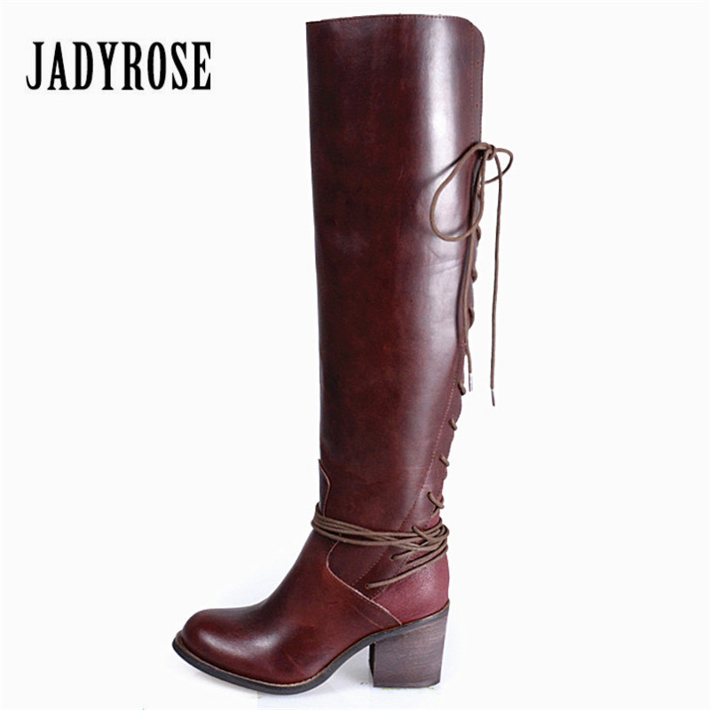 Jady Rose Women Over The Knee Boots Back Lace Up Chunky High Heel Botas Female Thigh High Boots Winter Warm Rubber Shoes Woman women over the knee boots black velvet long boots ladies high heel boots sexy winter shoes chunky heel thigh high boots