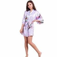 2017 Новый Бренд Pink Женские Печатных Цветочные Платья Кимоно Платье Китайский стиль Шелковый Атлас Одеяние Ночная Рубашка Цветочный Пижамы Sml XL XXL
