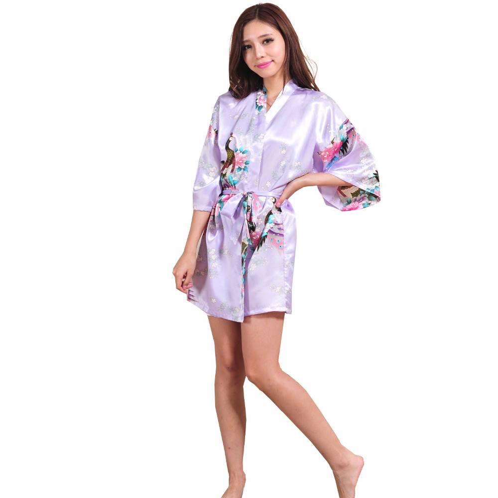New Brand Pink Female Printed Floral Kimono Dress Gown Chinese Style Silk Satin Robe Nightgown Flower Pajamas S M L XL XXL