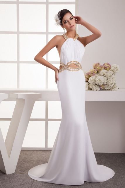 cheap long evening dresses with Off the Shoulder backless.white mermaid evening dress with Court Train