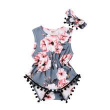 Одежда для новорожденных девочек и малышей цветок комбинезон для новорожденных с бахромой в виде кисточек наряды
