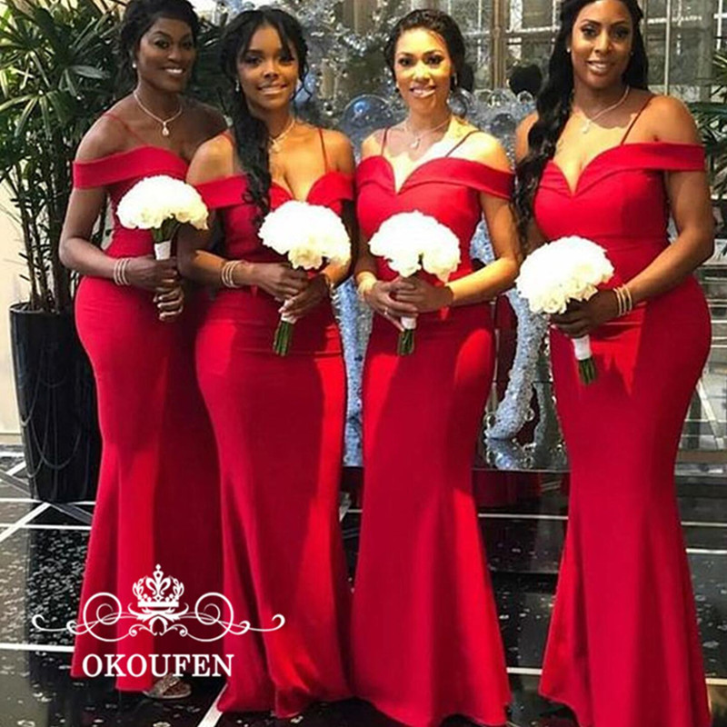 Wholesale Price Red Mermaid Long   Bridesmaid     Dresses   For Women 2019 Sexy Spaghetti Strap Off Shoulder Maid Of Honor   Dress   Party