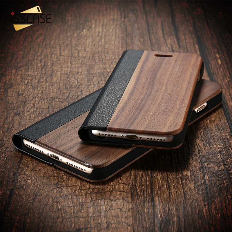 KISSCASE Wood Flip Cases for apple <font><b>iPhone</b></font> 6 6s Plus 7 7 Plus Case Retro Natural Real Bamboo Wood Cover for Samsung S7 S7 Edge
