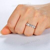 5 камень Стиль 4 мм Круглый топаз Твердые 10 К White Gold Wedding Band Обручение кольцо щедрый партия ювелирных изделий