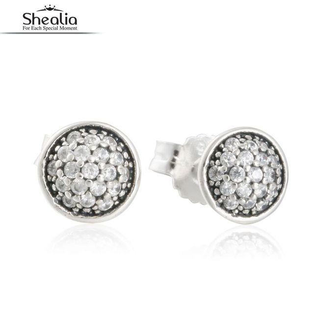 SHEALIA CZ Diamond Dazzling Droplets Stud Earrings Real 925 Sterling-Silver-Jewelry Zircon Pave Earrings For Women 2016 Autumn