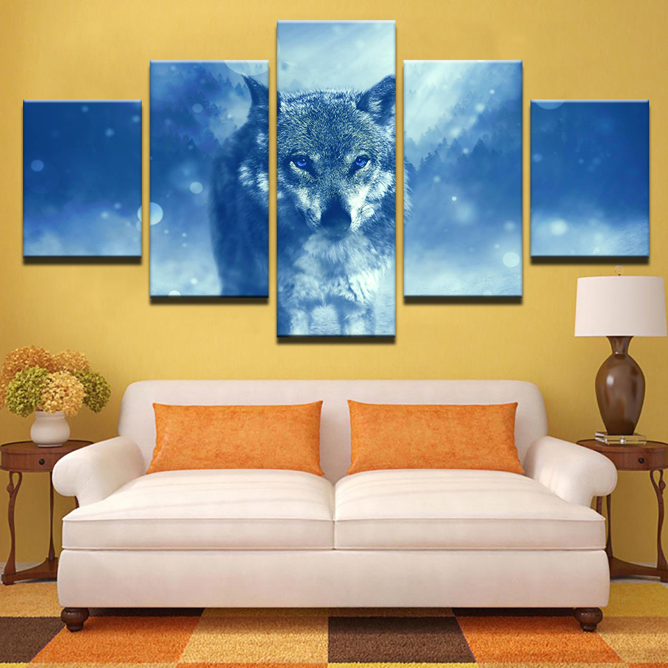 Modern Pictures For Living Room HD Printed Posters Home Decorative 5 Pieces Wall Art Framework Animal Snow Wolf Canvas Paintings